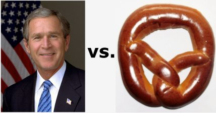 Today's Trivia January 13, 2002: Bush vs. Pretzel