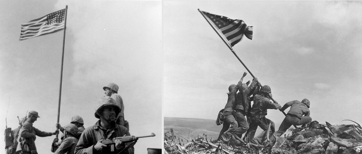 First flag raising (left) and the second raising photographed by Rosenthal